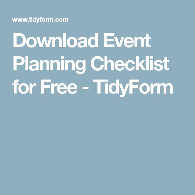 Download Event Planning Checklist for Free - TidyForm