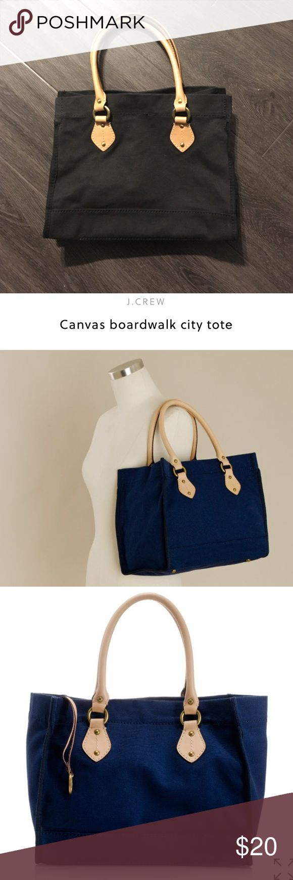 J Crew Canvas Tote 100% Cotton with 100% leather trim. Black Tote. Navy pics show to show pics from j crew website.  Snap closure, strap with ring for keys, interior zip pocket. Has metal knobs for feet to keep bag lifted of ground. Used a few times but is EUC. Good bag for farmers market, day out with the kids or maybe even over night at a friends ;) j crew Bags