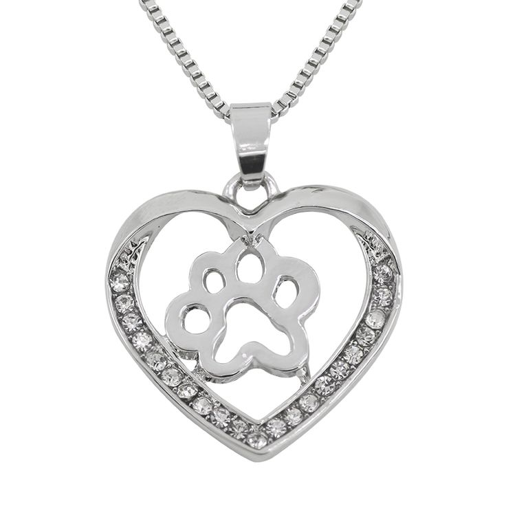 2017 New Heart Shape Rhinestones Necklace Personality Love Dog Claw Hollow Necklaces & Pendants Pet Dog Footprint Pendant Colar