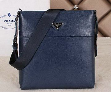 Prada Calfskin Leather Messenger Bag P250013 Blue