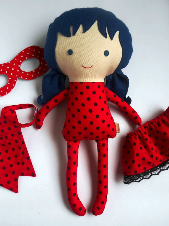 LADYBUG RAG DOLL toy inspired by Miraculous Ladybug and Chat Noir, super hero…