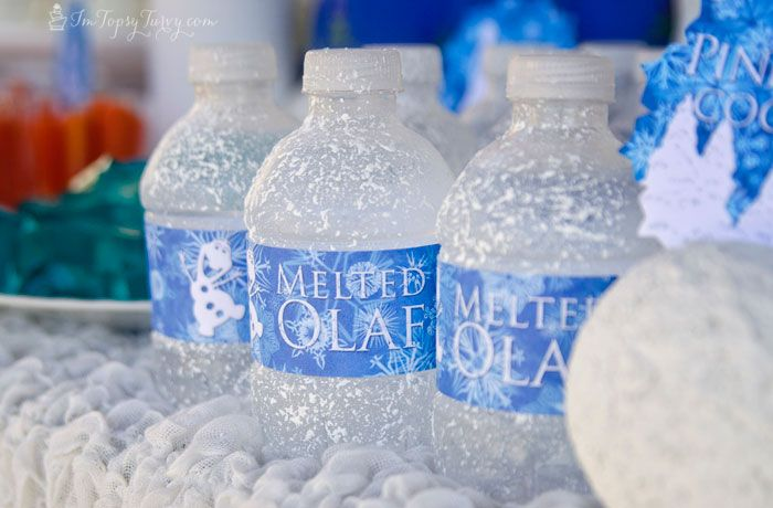 Frozen Birthday Party Melted Olaf Water Bottle Labels #olaf #labels @I'm Topsy Turvy