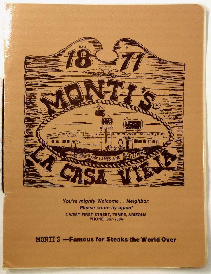1970's Vtg Full Size Laminated Menu MONTI'S LA CASA VIEJA Restaurant Tempe AZ