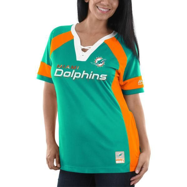 Miami Dolphins Women's Majestic Draft Me V-Neck Jersey T-Shirt