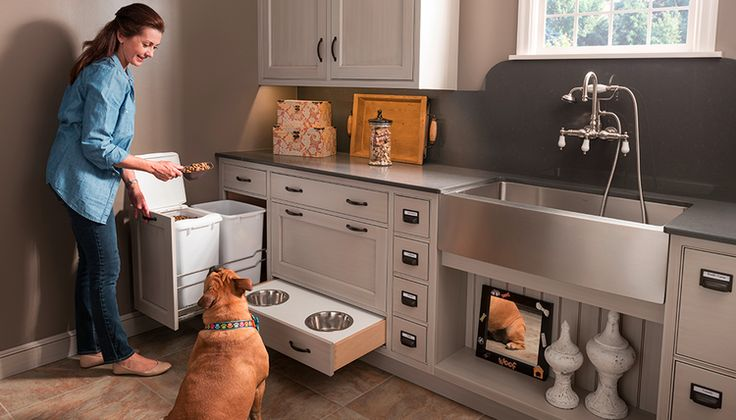 Best of #KBIS2015: Wood-mode's Embassy Row Pet Parlor| Wood-mode is known for its unrivalled quality and finely detailed wood cabinetry. And they satisfy homeowner's storage needs by providing custom storage options that will always exceed your expectations. One such option is their Embassy Row Pet Parlor. | Carla Aston reporting from Modenus' #BlogTourVegas