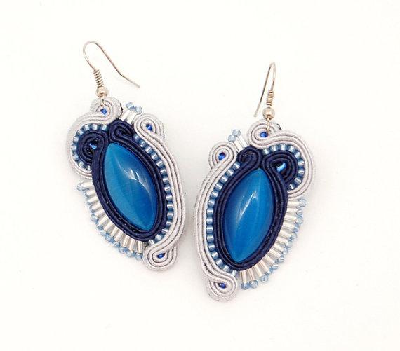 Cool Sky   handmade soutache earrings by martazare on Etsy, $50.00