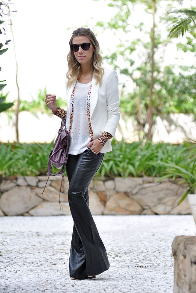 glam4you - nati vozza - couro - leather - blazer - branco - white - look…