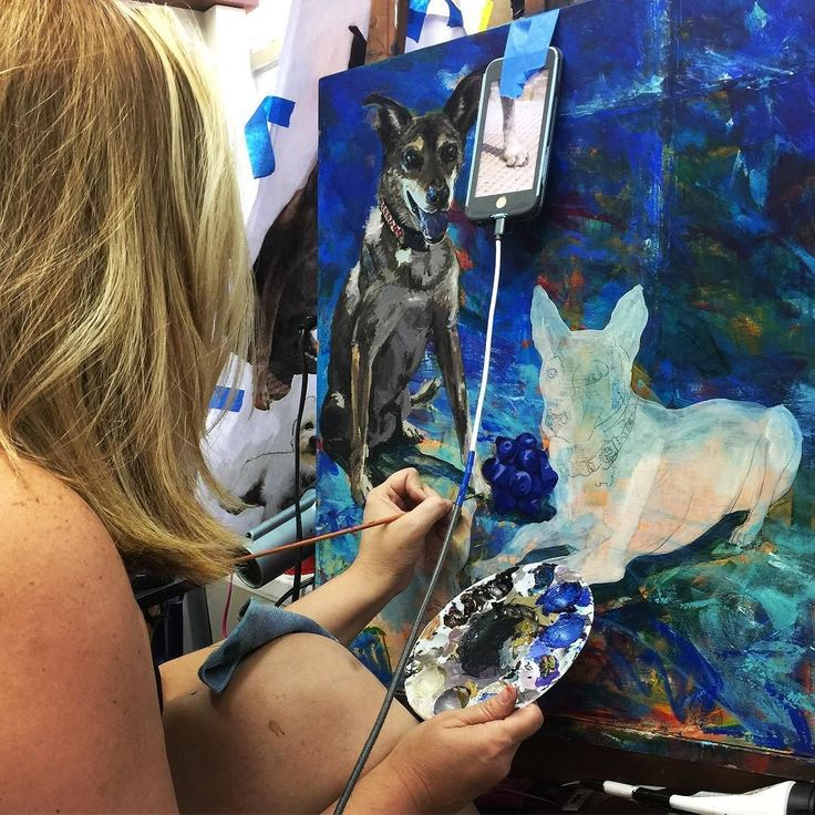 This is how we roll! . . . #studio #artstudio #paint #art #artist #dogs #dogsofinstagram #painting #paintingdogs #art #acrylic #myart #commission #danielamatchael #puppy #paintmydog #dallas #dallasrartist #texas #texasartist #brazil #brazilianartist #portugues #cachorro #late #pintura #acrilica #lovemydog