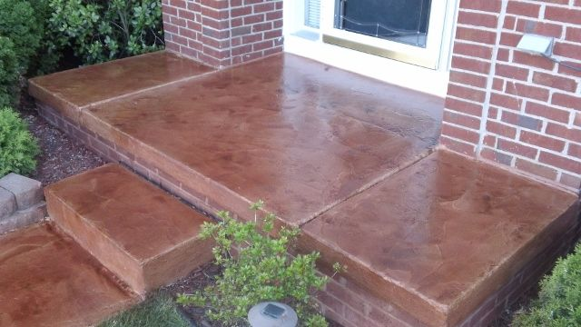 concrete walkways on a budget | ... concrete overlay stained and textured over existing concrete