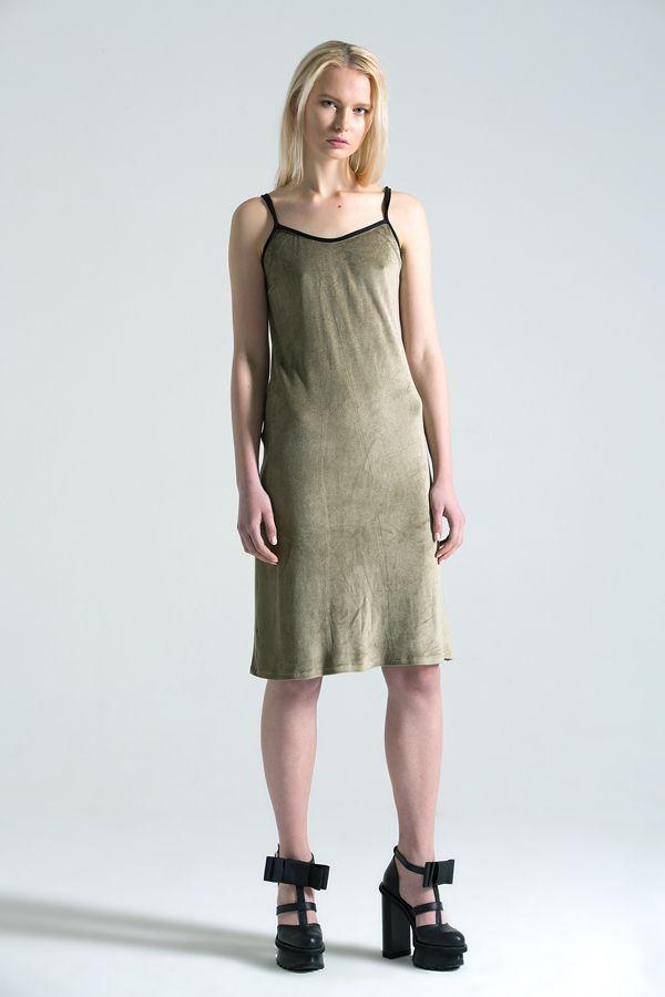 Velvet olive dress