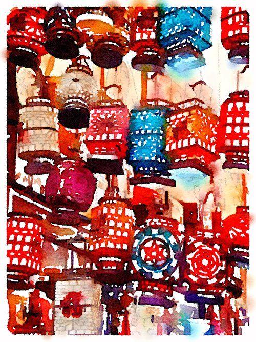Chinese Lanterns Art Print, original art, art prints for sale, travel art, support artists, art for sale online, Society6 artist, travel, adventure, Lindsay Shapka art, lanterns, texture, interesting art