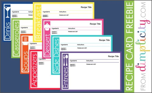 Recipe Card Freebie PDF. Type directly onto the file! Printable Free