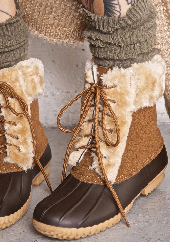 Fashion Women's Duck Boots Two Tone Faux Fur Shearing Lace Up Rain Waterproof  #CapeRobbin #SnowWinterBoots #Casual