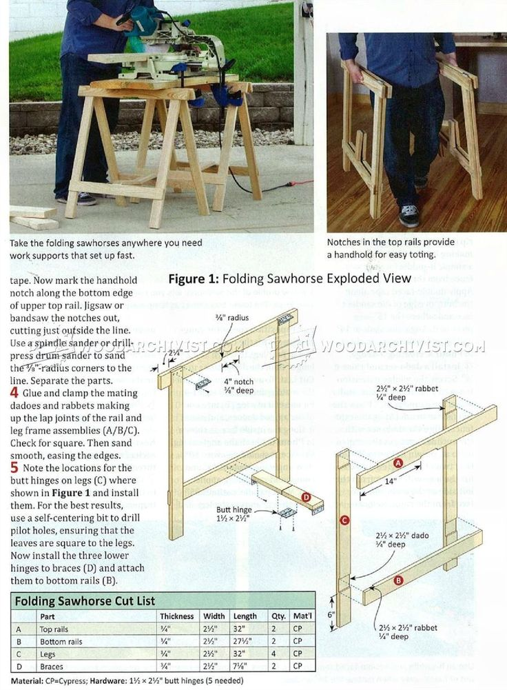 Folding Sawhorse Plans - Workshop Solutions Plans, Tips and Tricks | WoodArchivist.com