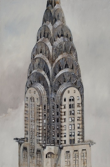 "Patrick Pietropoli, Chrysler Tower n°7, Oil on Linen, 57½"" x 38"" #art #newyork #axelle"