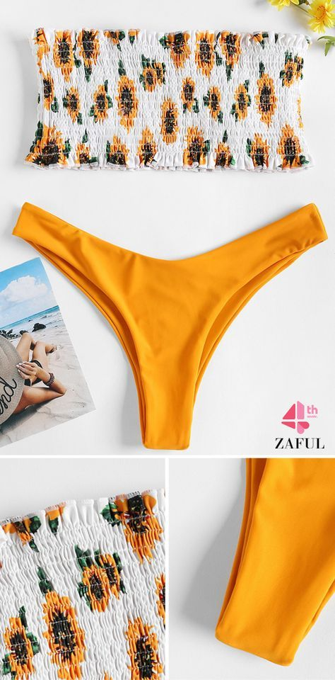 0421553fcee Sunflower Smocked Thong Bikini Set. Floral print throughout, this sexy two  piece bikini swimwear features a bandeau collar top with padded cups  lining, ...