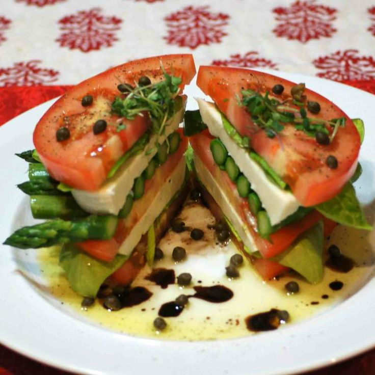Stacked Caprese Salad with Asparagus Red Tomato - Large Tomato ...