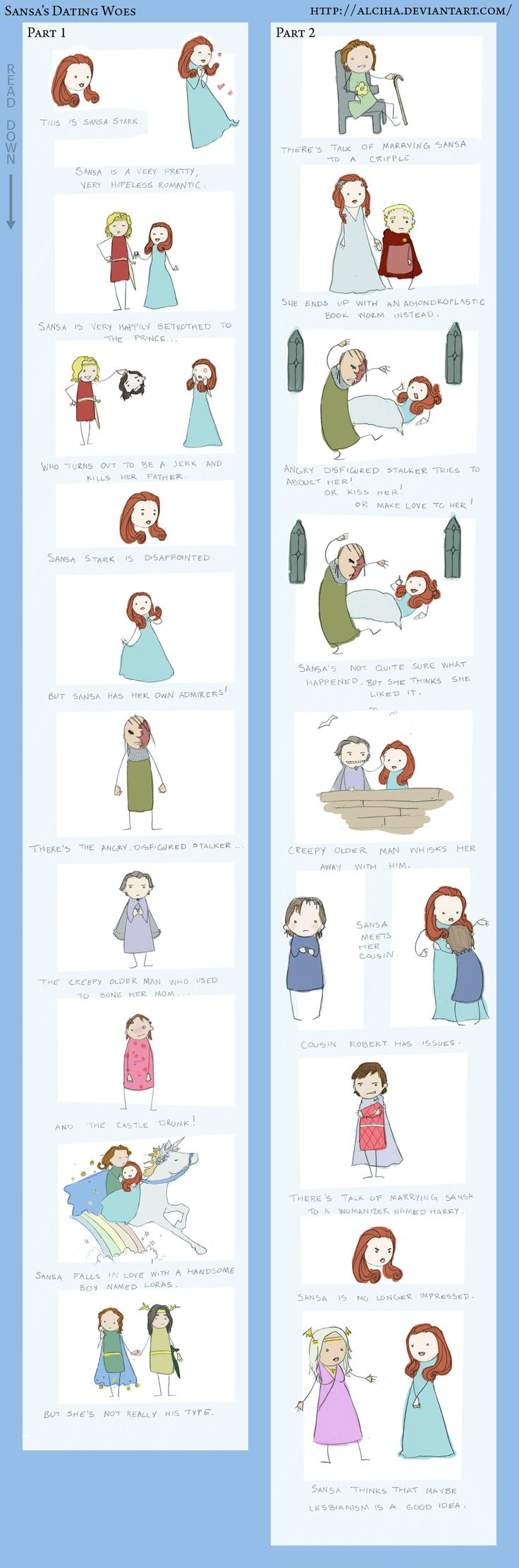 dating woes of sansa stark I do think the answer to the whole conundrum (after 2 full threads) can best be summed up by the line in the dating woes of sansa stark comic: sansa is not quite .