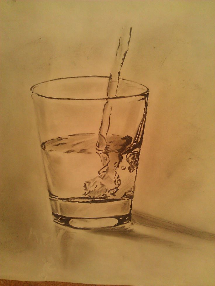 glass of water, pencil drawing
