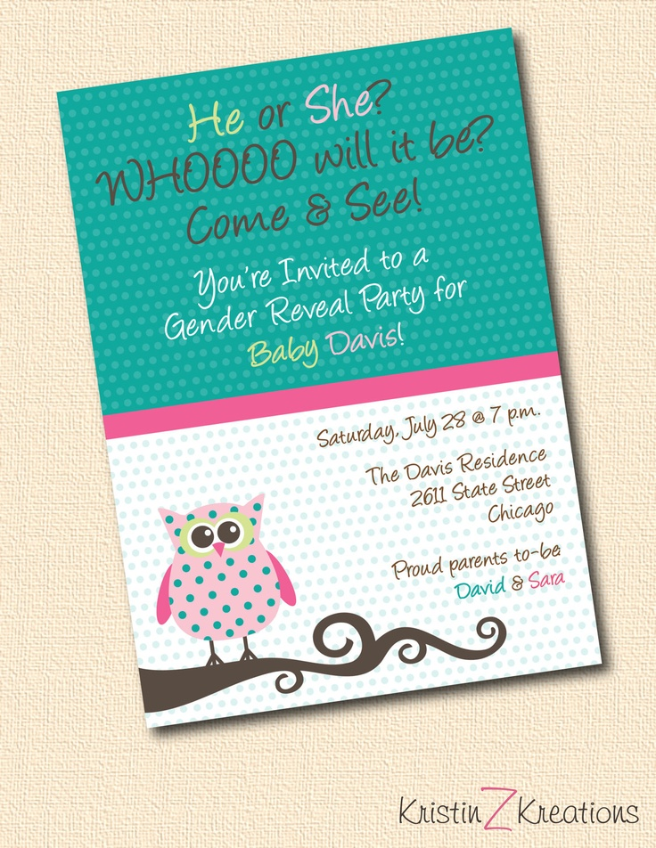 reveal baby gender party | GENDER REVEAL owl party invitation custom printable-- digital file 5x7