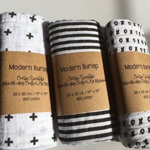 Geweldige swaddles in zwart wit van Modern Burlap!