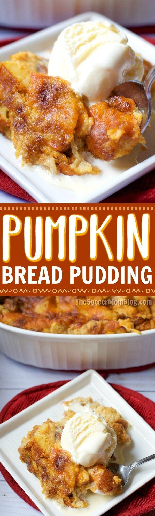 Warning:This melt-in-your-mouth pumpkin pie bread pudding recipe may just become your new favorite Thanksgiving dessert! via @https://www.pinterest.com/soccermomblog