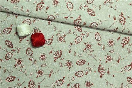 El sitio de mi Recreo: Patchwork y Costura. Telas. Lino.  Lino Cinco Flor Roja