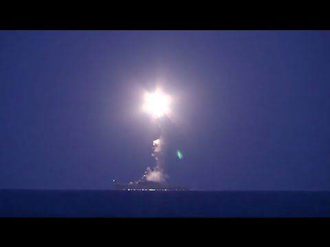 FIRST VIDEO: Russian warships attack ISIS positions in Syria from Caspian Sea - YouTube