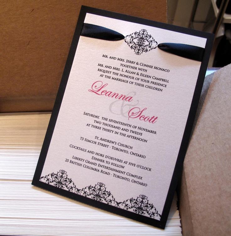 Ingledew Invites Black Damask Invitation 50
