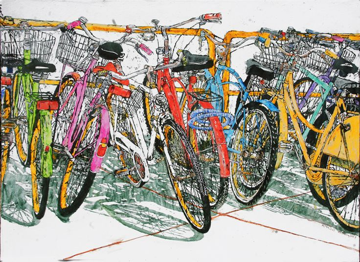 "lido bikes (94)  30"" x 40"" x  1 3/4""  micheal zarowsky / Mixed media (watercolour / acrylic painted directly on gessoed birch panel) Available $2800.00"