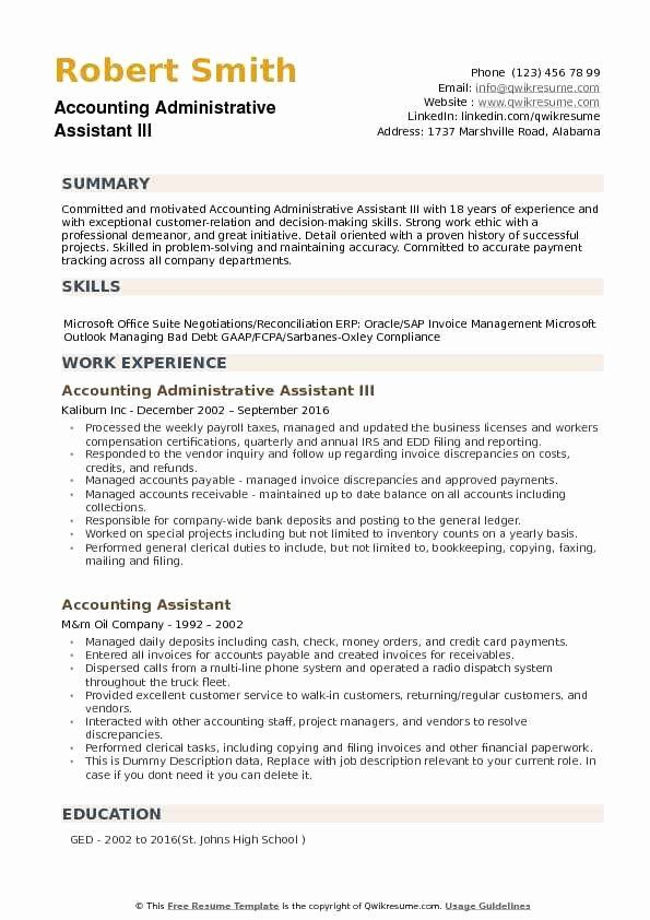 Resume Summary Examples For Administrative Assistants New Accounting Administrative Assistant Resume Samples In 2020 Marketing Resume Resume Examples Manager Resume