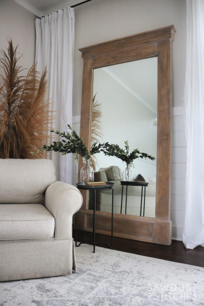 Diy Home Decor Mirror How To Build Large Floor Leaner Mirror In 2020 Floor Mirror Living Room Home Decor Mirrors Leaner Mirror