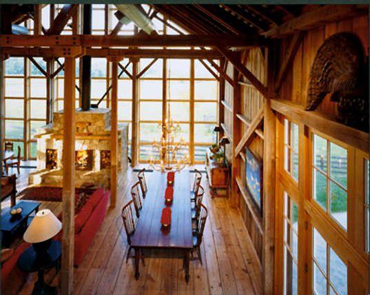 Bank barn renovation. Like the huge windows built into the barn.