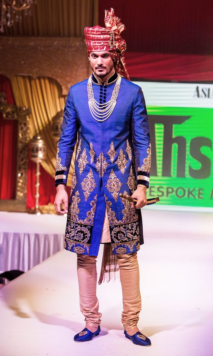 Sherwani_catwalk_2014_2 blue rawsilk with gold Asian bride me bridal show www.ahsans.biz #Groomwear #Weddingplz #Wedding #Bride #Groom #love #Fashion #IndianWedding  #Beautiful #Style