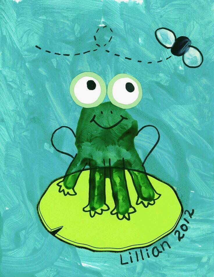 Frog hand print art