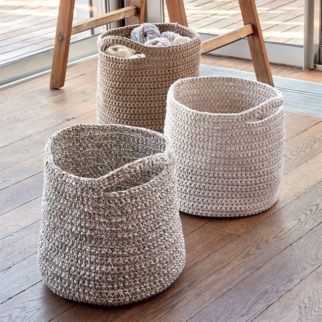 Zoom modèle gratuit : corbeilles décoratives à crocheter                                                                                                                                                     Plus