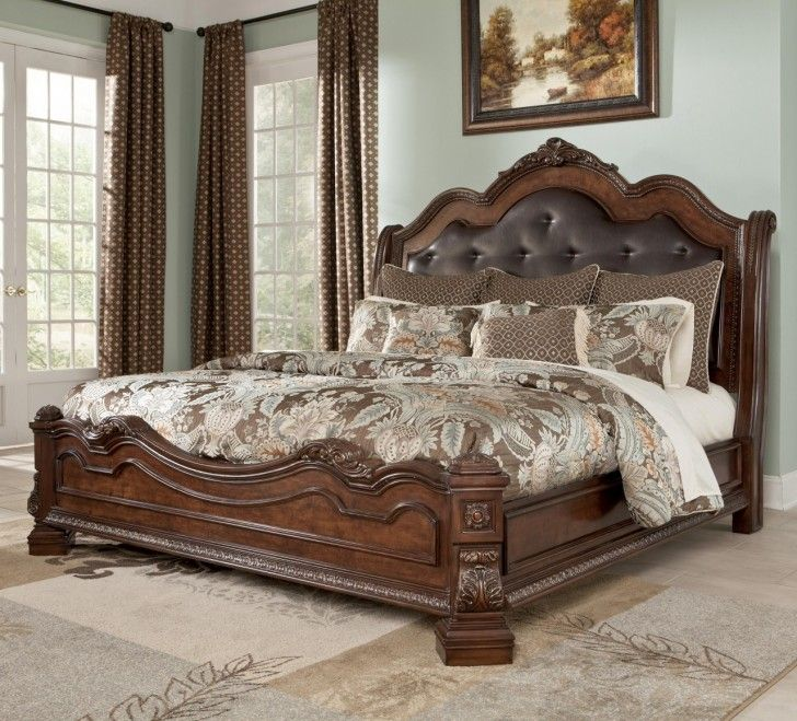 Luxury Brown Wood Materials King Headboard Design With