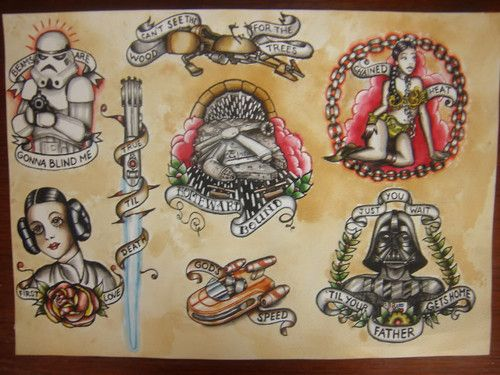 Traditional Star Wars Tattoo flash. I would get the homeward bound millenium falcon tattoo in a heart beat.