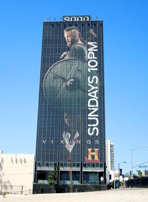Giant Vikings series premiere TV billboard - Travis Fimmel as Ragnor Lothbrok