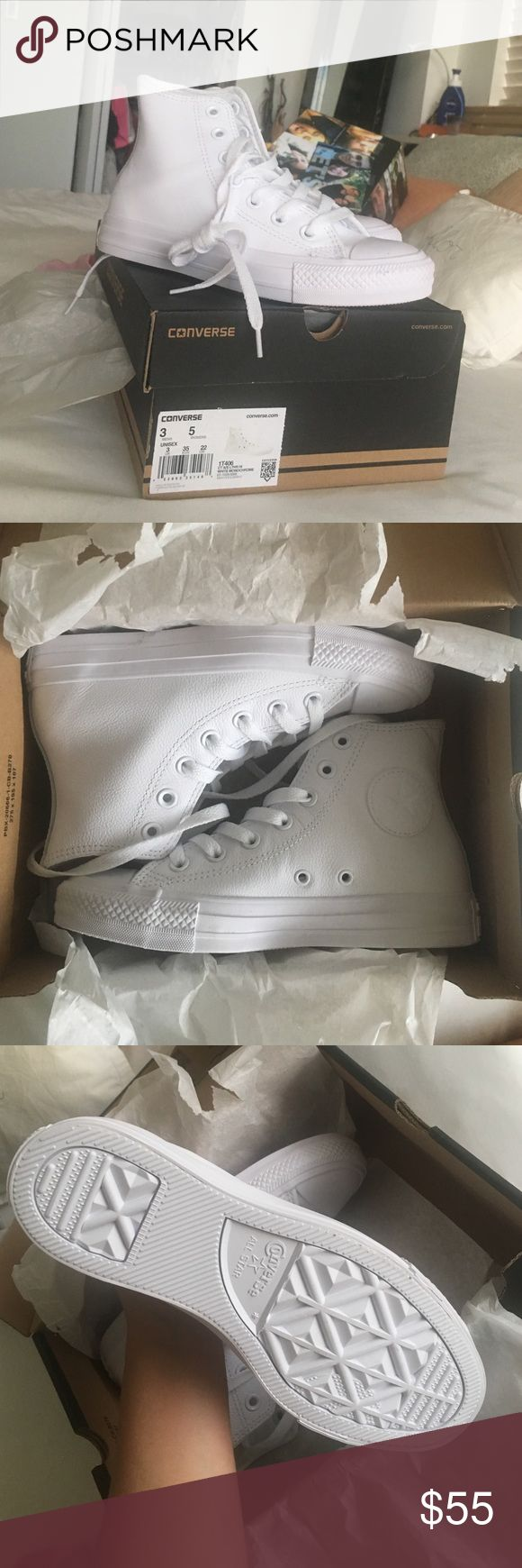 NEW IN BOX All white leather converse all star Brand new, in original packaging Converse Shoes Sneakers