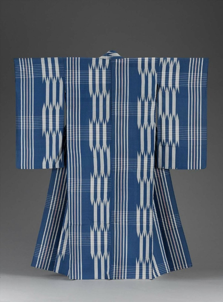Blue and white Meisen kimono, Japanese, first half of 20th century.