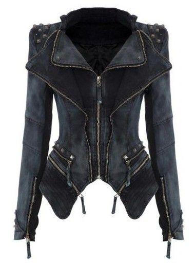 Women' Street Lapel Rivet Zipper Jean Jacket Jackets from fashionmia.com