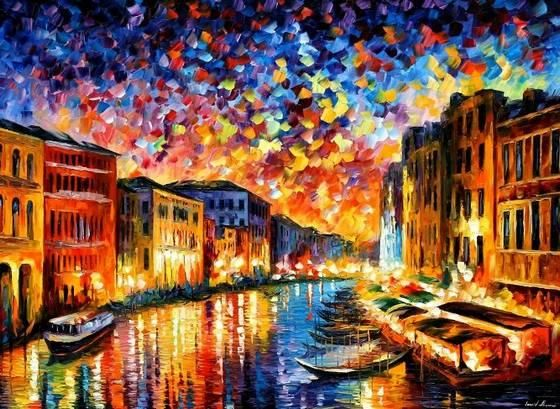 This urban cityscape was painted by Leonid Afremov - an Israeli modern painter. He loves painting with oil and I love his works!