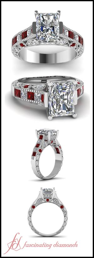 Droplet Ring || Radiant Cut Diamond Vintage Ring With Red Ruby In 14K White Gold