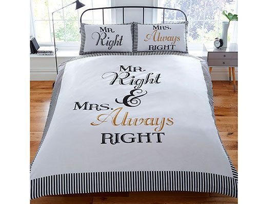 double king size MR RIGHT + MRS ALWAYS RIGHT text  wording duvet cover set
