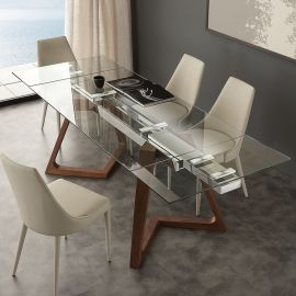 Modern extendable dining table with crystal top Iside