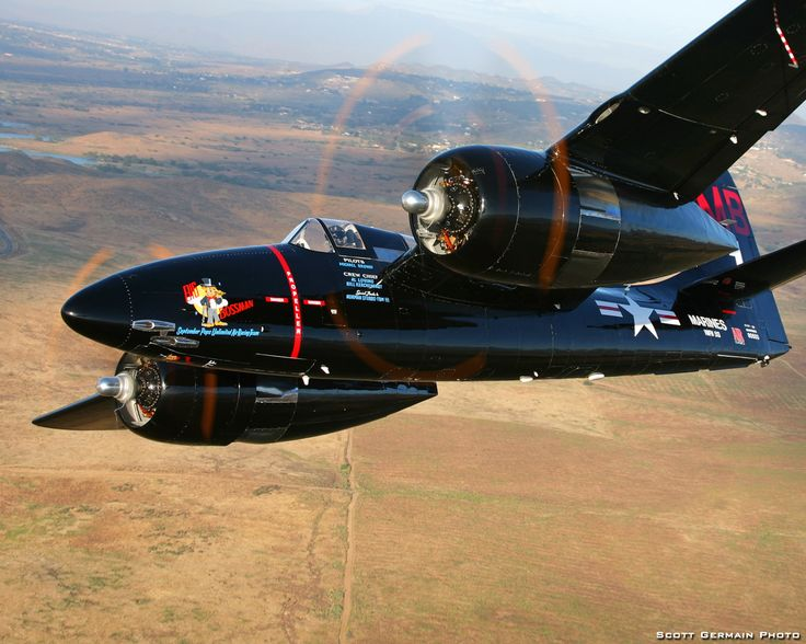 Grumman F7F Tigercat. Fastest piston engine plane at 470 mph. Only used sparingly in the Korean War, but not in actual combat role.