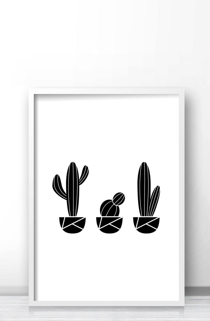 Wall art 100 x 70 - Printable Cactus Art Modern Geometric Cactus Wall Art Print Black And White Minimalist Cactus