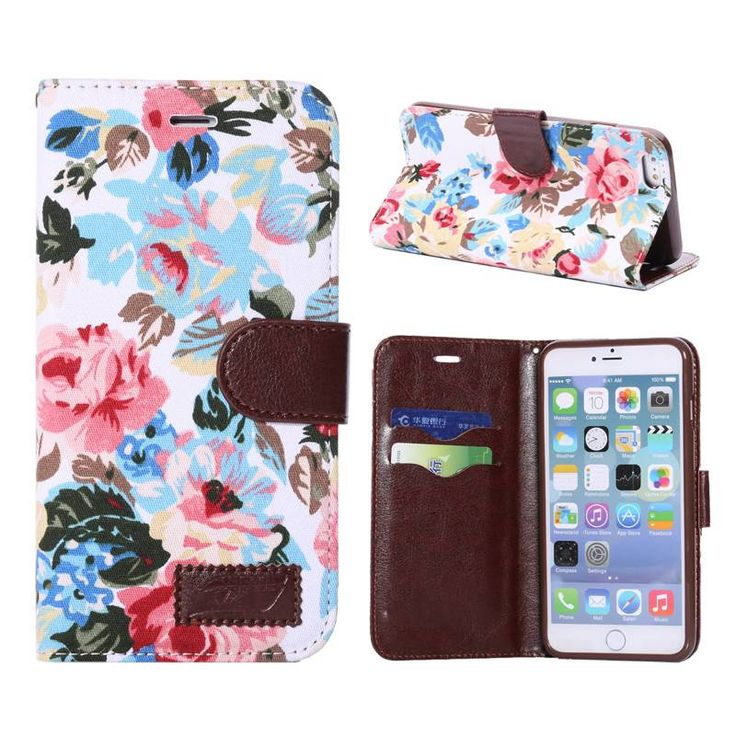 Bloemendesign wit booktype hoesje voor iPhone 6 Plus