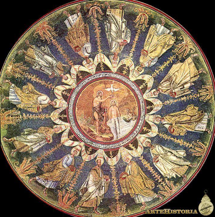 Decoración de la cúpula del Baptisterio de los Ortodoxos, Bautismo de Cristo en el río Jordán